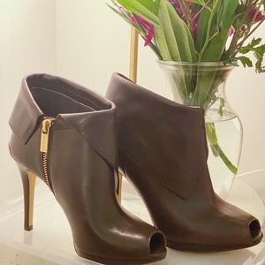 Michael Kors Peep Toe Leather Bootie